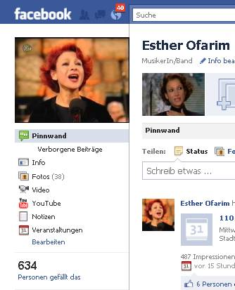 Esther Ofarim at facebook